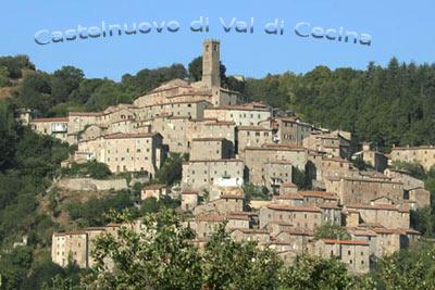 Il paese di Castelnuovo di Val di Cecina tra le verdi colline toscane