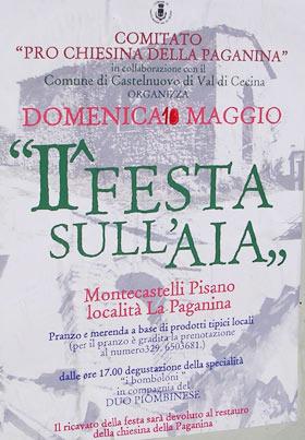 Manifesto della festa nella Paganina a Montecastelli Pisano